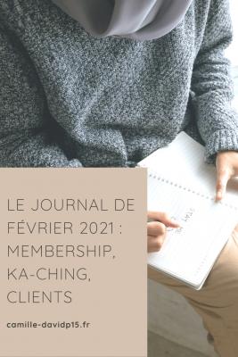 Camille-Davidp15 - journal de Février 2021 Membership Ka-Ching Clients v5